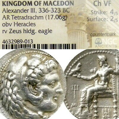 ALEXANDER the Great NGC Choice VF Herakles ZEUS Lifetime Ancient Silver Coin