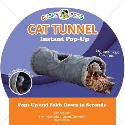 Kitten Cat Tunnel Large Suede Pet Rabbit Play Funny Toys with Ball Grey Active