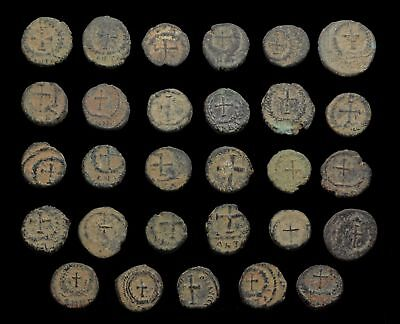 Lot of 29 nice quality uncleaned Roman coins, sand patinas, AE4, all cross rev