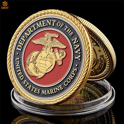 USA Marine Corps Gold Plated Metal Military Challenge Medal US Coin Collection