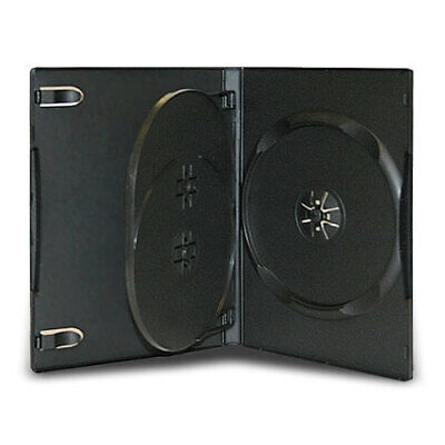 10 Standard 14mm Triple Multi 3 Disc CD DVD Black Storage Case Box