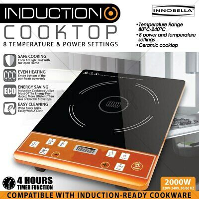 Electric Induction Cooktop 2000W Preset Programs Hotplate 8 Setting Timer