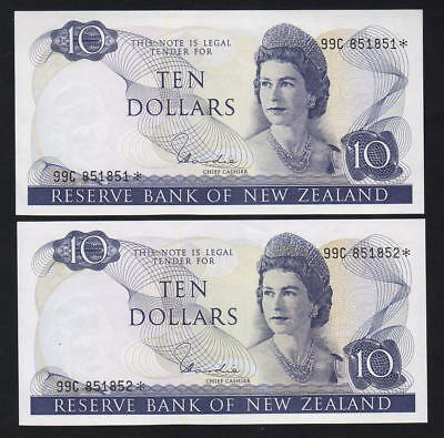 New Zealand P-166d. (1977-81) $10 - STAR Note. Hardie. 99C Prefix.. CONSEC Pair
