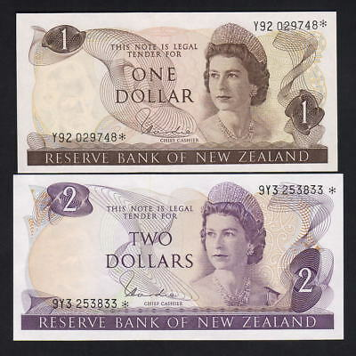 New Zealand  P-163d, 164d (1977-81) $1  & $ 2- STAR Notes..  Hardie Type-1