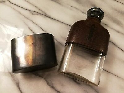 Antike weinflasche- alte Flachmann Flasche Leder travel hip flask bottle 20s#78