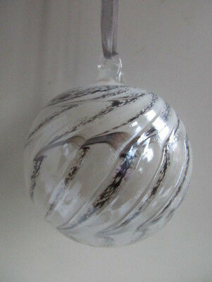 Glass Mouth Blown Spirit or Friendship Ball Silver Shimmer 8cm Boxed Ideal Gift