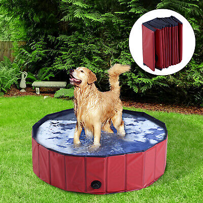 PawHut Pet Pool Swimming Bath Portable Cat Dog Foldable Puppy Bathtub Φ100 x 30H