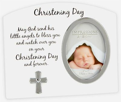 Widdop CHRISTENING DAY CROSS PHOTO FRAME Baby Gift Picture Frame BN