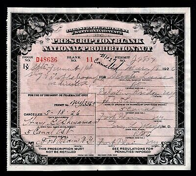 Prohibition Whiskey Prescription Vintage Doctor Pharmacy Bar Palatine Bridge NY