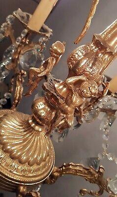 Antique Vintage 6 Arms Cast Brass & Crystals Cherub  Chandelier Lighting Lamp