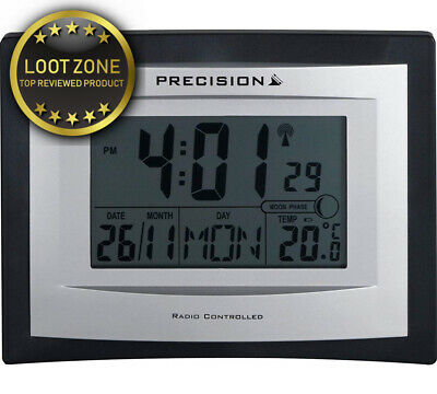 Precision LCD Radio Controlled Wall Desk Clock, Day ,Alarm, Temperature...