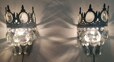 Pair Of Matching Antique Vintage Brass & Crystals Wall Sconces Lighting  Light