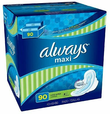 Always Maxi Long Super Pads with Wings - 90 ct. Softer & Comfortable New