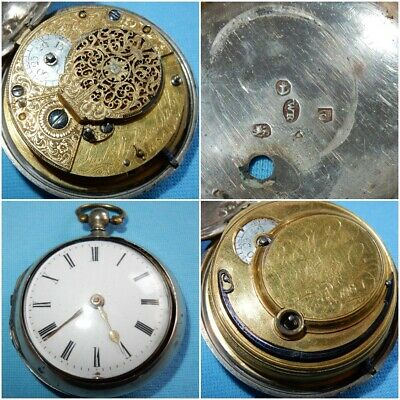 ANTIQUE GEORGE III PAIR CASED POCKET WATCH ROBERT WEBSTER No 1084 SILVER 1801