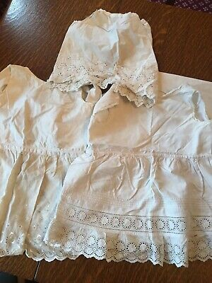 3 X VINTAGE 1930's BABY BRODERIE ANGLAISE PETTICOATS/OVER PINAFORES