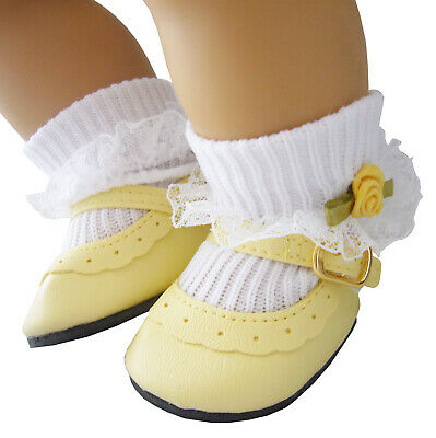 Yellow Shoes + Rosebud Socks for Bitty Baby Doll Clothes High Quality