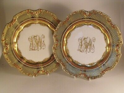 A  Superb Quality Pair of Dresden Porcelain Jewelled and Gilded Plates - c1900