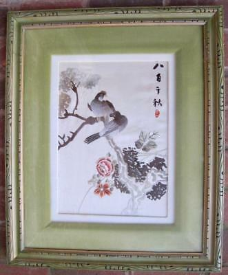 Asian Chinese Silk Style Embroidered Panel Green Framed Matted 2 Birds Flowers