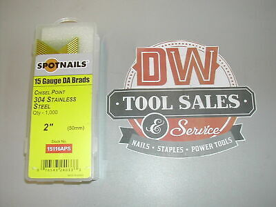 "STAINLESS STEEL 15 Gauge Finish Nails 2"" DA 34 Degree (1,000) for Hitachi etc"