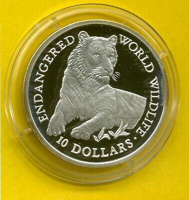 10 Dollars  World Wildlife 1990 Cook Islands Elizabeth II Tiger Silber  (4839)