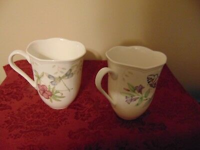 Mint Lenox China Porcelain Dragon Fly & Eastern Tailed Blue Coffee cups