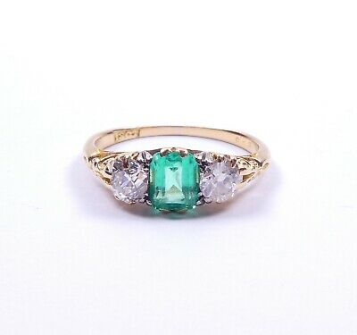 Emerald and diamond antique ring superb victorian carved setting