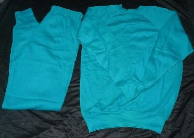 Vintage 1980s Womens Sweatpants Sweat Shirt Outfit Size Large 40 Teal Green NWOT