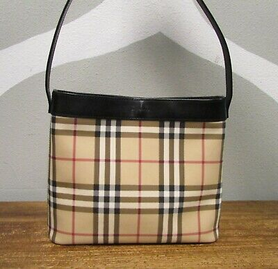 b8e2e262ec1d BURBERRY NOVA CHECK PVC Coated Canvas Leather Classic Shoulder Tote ...