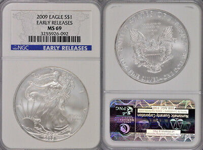 2009 Ngc Ms69 Early Releases 1Oz .999 Silver American Eagle $1 Coin !! Lovely !!