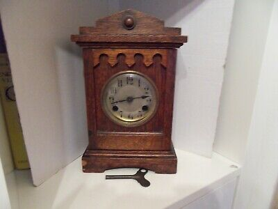 Unusual Old Working Wooden Framed Mantle Clock With Key