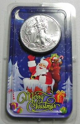 2014 American Eagle Silver Dollar Uncirculated in Merry Christmas / Santa Pack