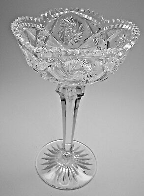 Spectacular Antique Whirling Star American Cut Glass Tall Jelly Compote
