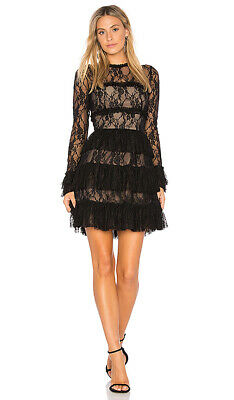2a611fbdf8353 Bailey 44 Black Feeding Circle Ruffle Lace Long Sleeve Lolita Lined Dress  Sz 8