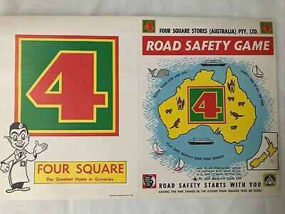 4 SQUARE STORES - ROAD SAFETY GAME plus 3 extra 4 square shop posters - grocery