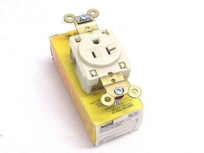 Hubbell Single Receptacle Hbl5361I 20A 125V, 2 Pole 3-Wire Grounding, Ivory