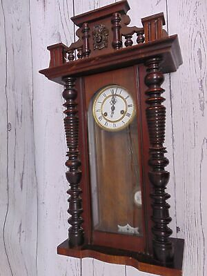 Large Decorative Vintage Wooden WALL CLOCK With Pendulum & Chimes + Key - D33