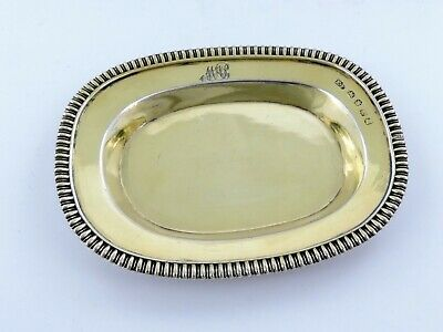 Lovely GEORGIAN SILVER GILT OLIVE DISH TRINKET or DESK TRAY, London 1814 coaster