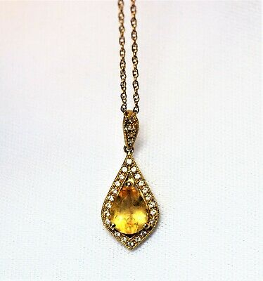 Vintage Gold Vermeil Sterling Silver Yellow Topaz Crystal CZ Necklace Pendant