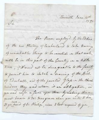 """Extremely Rare 1792 """"fairy"""" Letter. """" The Luck Of Edenhall """", Cumberland / Syria"""