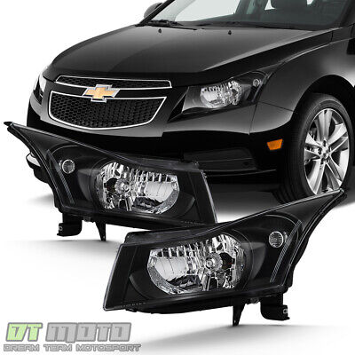 Black 2011 2012 2013 2014 2015 Chevy Cruze Headlights Headlamps 11-15 Left+Right