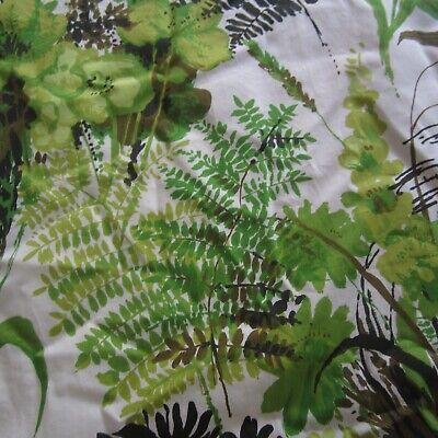 116cm x 97cm Fresh Green Leaf Leaves Vintage cotton Drill Curtain fabric 1970s