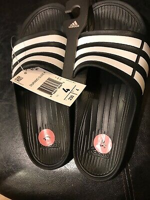e84c217a56bf9f New Adidas Kids Girls Boys Duramo Slides Sandals Size 4 Black White Ships  FREE