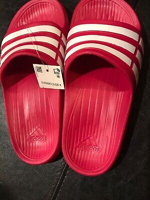 576eccecfd2 New Adidas Kids Girls Youth Duramo Slides Sandals Size 13 Pink White Ships  FREE