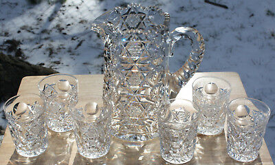 Antique Cut Glass Signed Hawkes Water Pitcher Set Queens Pattern with 6 Glasses