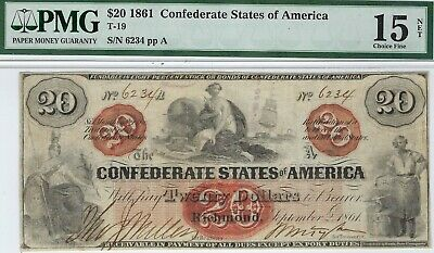 T-19 PF-1 $20 1861 Confederate Paper Money - Rare type - PMG Choice Fine 15 Net