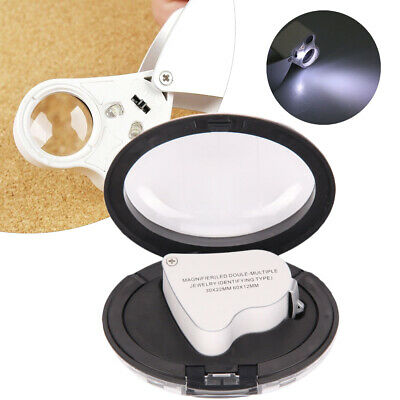 Magnifying Jeweller Eye Jewelry Lens Glass Loupe 30X/60X Magnifier LED Light Hot