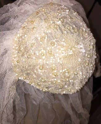 40's Antique Pearl Shell Beaded Juliet Bridal Cap Wedding Veil Long Ivory Bridal