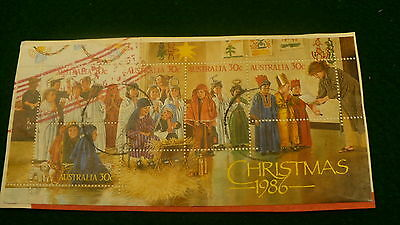 Australia Christmas 1986 cancelled postage stamp block pane stamps P236