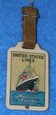 Vintage Celluloid UNITED STATES LINES Ocean Liner Luggage Tag AMERICA - EUROPE