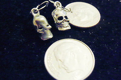 bling sterling silver plated DEMONIC pagan gothic celtic skull fashion ear ring
